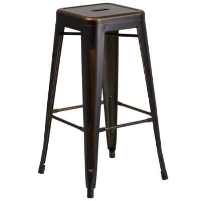 30 in. Distressed Copper Bar Stool