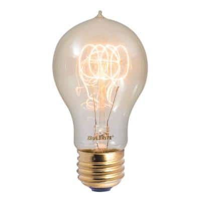 60-Watt A19 Incandescent Light Bulb Medium Base (E26) Antique Nostalgic Loop 2200K (4-Pack)