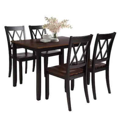 5-Piece Wood Dining Table Set (Black+Cherry)