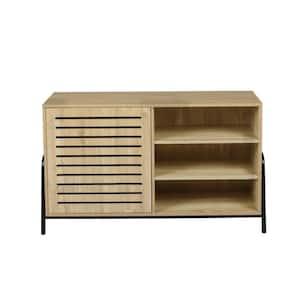 Light Brown MDF Wood 1-Door Sideboard Freestanding Storage Cabinet