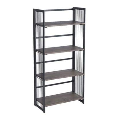 Industrial 49.2 in. Black Metal 4-Shelf Standard Bookcase with Open Back