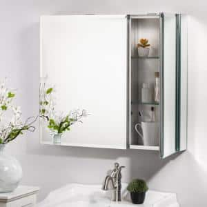 30 in. x 26 in. Rectangular Aluminum Recessed/Surface Mount Medicine Cabinet with Mirror with Adjustable Shelves