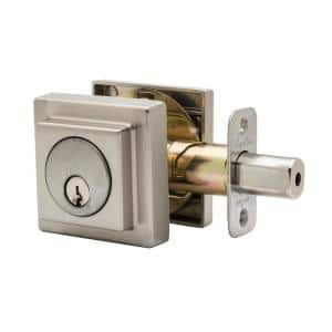 Comtemporary Square Single Cylinder Satin Stainless Deadbolt