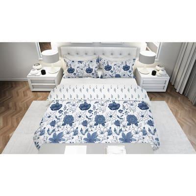 Lillie Floral Blue 3-Piece Reversible Ultra-Soft Microfiber Full/Queen Comforter Set