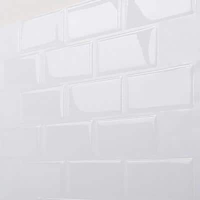 Subway White 12 in. W x 12 in. H Peel and Stick Self-Adhesive Decorative Mosaic Wall Tile Backsplash (5 Tiles)