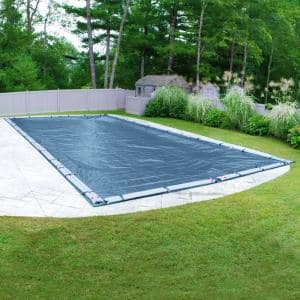 Super 25 ft. x 50 ft. Rectangular Imperial Blue Solid In-Ground Winter Pool Cover