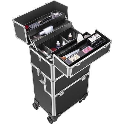 3-in-1 Aluminum Cosmetic Organizer Box with Shoulder Straps in Black