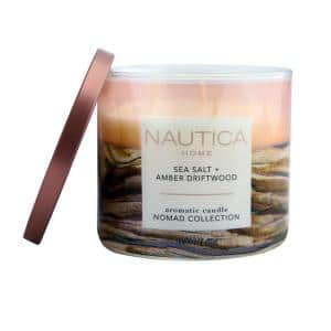 14.5 oz. Sea Salt and Amber Driftwood Multi-Colored Fresh 3-Wick Jar Candle