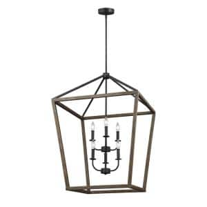 Gannet 6-Light Weathered Oak Wood and Antique Forged Iron Rustic Farmhouse Hanging Candlestick Chandelier