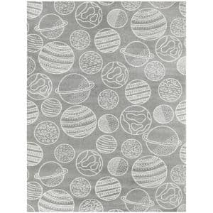Space Planets Medium Grey 5 ft. x 7 ft. Area Rug