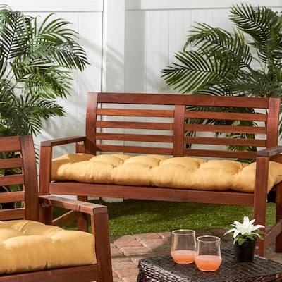 Solid Wheat Sunbrella Rectangle Outdoor Bench/Swing Cushion
