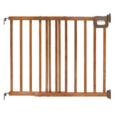 32 in. Deluxe Stairway Simple To Secure Wood Gate