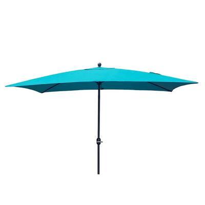 10 ft. Powder-Coated Rust-Free Aluminum Crank Market Outdoor Patio Umbrella in Teal