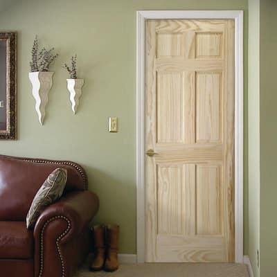 24 in. x 80 in. Radiata 6 Panel Solid Core Unfinished Pine Interior Door Slab