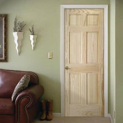 28 in. x 80 in. Radiata Unfinished  Smooth 6-Panel Solid Core Pine Interior Door Slab