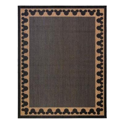 Mickey Mouse Chestnut/Black 6 ft. x 9 ft. Border Indoor/Outdoor Area Rug