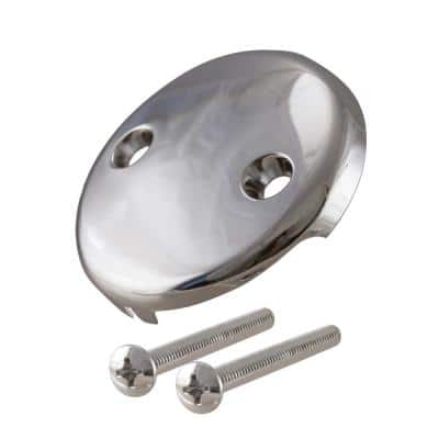 Universal 2-Hole Overflow Faceplate in Polished Nickel
