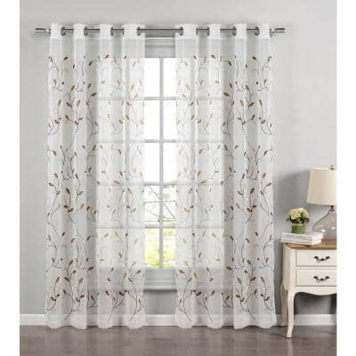 Chocolate Leaf Embroidered Grommet Sheer Curtain - 54 in. W x 84 in. L