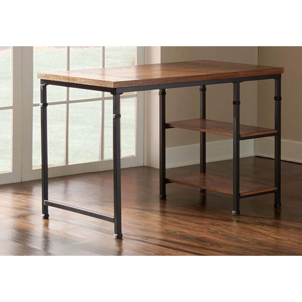 45 in. Rectangular Black/Ash Veneer Writing Desk with Open Storage