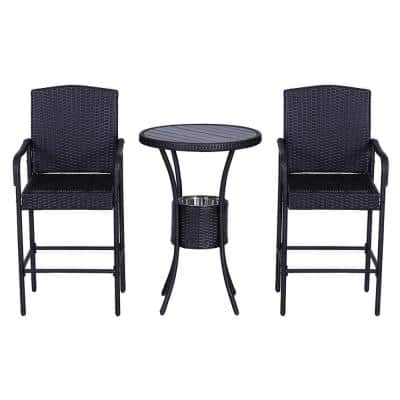 3-Piece Outdoor Plastic Rattan Wicker & Metal Frame Bistro Set with Included Ice Buckets, Bar Stools, and Center Table
