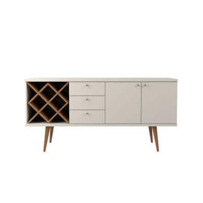 Utopia Off-White and Maple Cream 4-Bottle Wine Rack Sideboard Buffet Stand with 3-Drawers and 2-Shelves