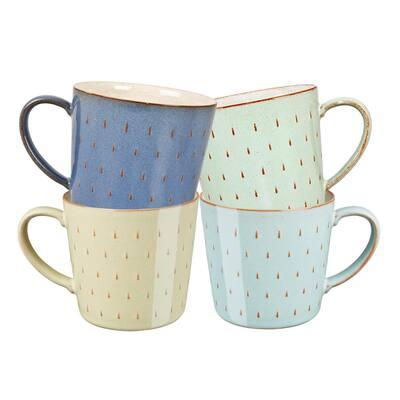 Heritage Cascade  Multi-Colored Stoneware Assorted Coffee Mug Set 4-Piece