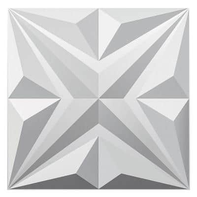 Star Design Series 19.7 in. x 19.7 in. 3D Embossed Decorative Wall Panel in White 12-Panels
