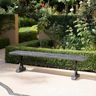 Chalmette Grey Stone Outdoor Bench