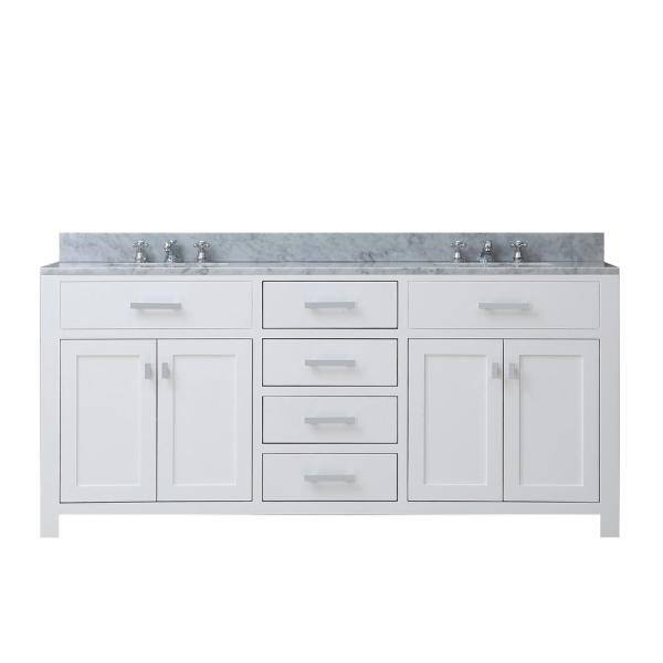 Shop Madison 72 in. Vanity in Modern White with Marble Vanity Top in Carrara White from Home Depot on Openhaus