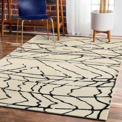 Matrix White/Black Rectangle 7 ft. 9 in. x 9 ft. 5 in. Indoor Area Rug
