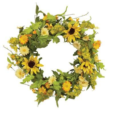24 in. Natural Twig Sunflower Wreaths (2-Set)