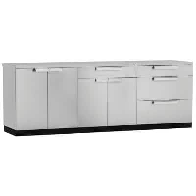 Stainless Steel 4-Piece 96 in. W x 36.5 in. H x 24 in. D Outdoor Kitchen Cabinet Set with Covers