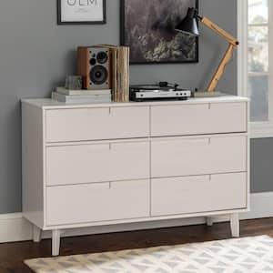 6-Drawer White Groove Handle Wood Dresser