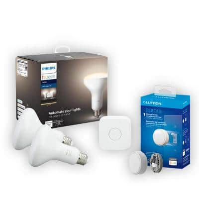 65-Watt Equivalent Philips Hue BR30 Dimmable Smart Wireless Lighting Starter Kit and Lutron Aurora Smart Bulb Dimmer
