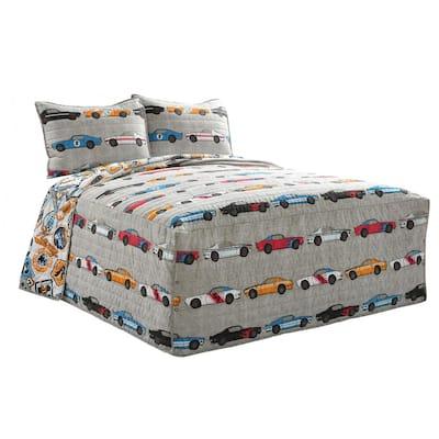 Race Cars Blue/Orange Bedspread Set Full (3-Piece)