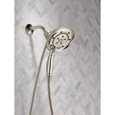 In2ition Two-in-One 4-Spray 3 in. Dual Wall Mount Fixed and Handheld H2Okinetic Shower Head in Polished Nickel