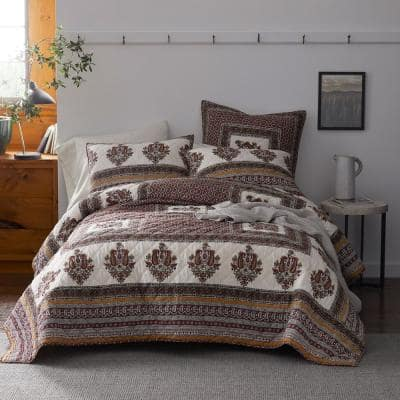 Margaux Multicolored Geometric Textured Cotton King Quilt
