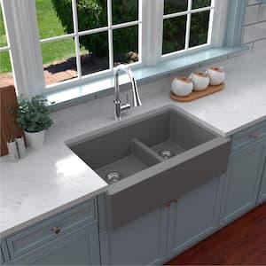 Farmhouse Apron Front Quartz Composite 34 in. Double Offset Bowl Kitchen Sink in Grey