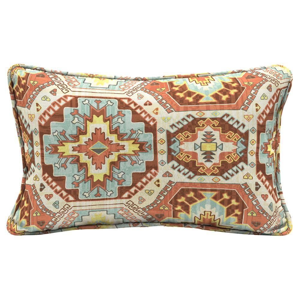Hampton Bay Russet Geo Rectangle Outdoor Lumbar Pillow 2 Pack Tm03108b D9d2 The Home Depot