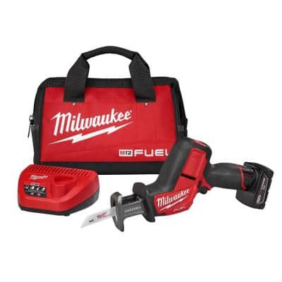 M12 FUEL 12-Volt Lithium-Ion Brushless Cordless HACKZALL Reciprocating Saw Kit w/ One 4.0Ah Batteries Charger & Tool Bag