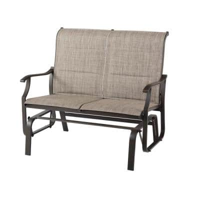 Riverbrook Espresso Brown 2-Person Steel Outdoor Patio Padded Sling Glider
