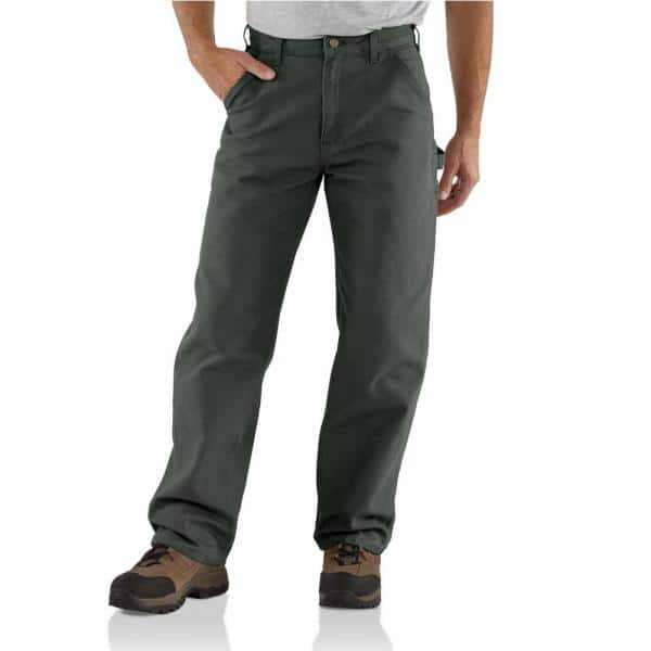 Carhartt Men S 35 In X 32 In Moss Cotton Washed Duck Work Dungaree Utility Pant B11 Mos The Home Depot
