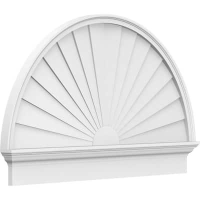 2-3/4 in. x 58 in. x 35-3/4 in. Half Round Sunburst Architectural Grade PVC Combination Pediment