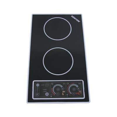 12 in. Smooth Top Induction Built-In Cooktop in Black with 2-Elements Including Mat
