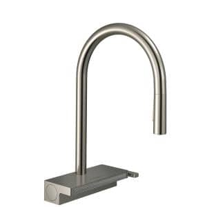 Aquno Select Single-Handle Pull-Down Sprayer Kitchen Faucet with QuickClean in Steel Optic