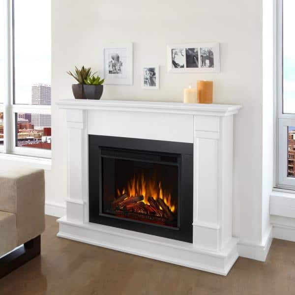 Real Flame Silverton 48 In Electric Fireplace In White G8600e W The Home Depot