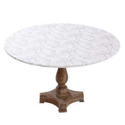 "42"" Cotton Fabric Fitted Table Cover, White Marble"