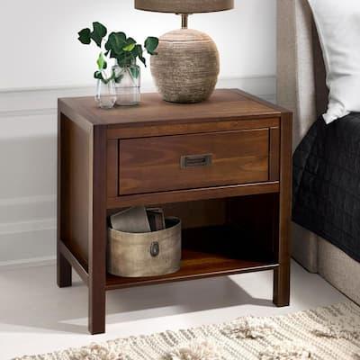 1-Drawer Classic Solid Wood Nightstand - Walnut