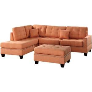 Barcelona Citrus Polyester 6-Seater L-Shaped Sectional Sofa with Ottoman