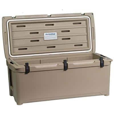 108 Qt. 130-Can High Performance Durable Roto Molded Airtight Ice Cooler in Tan